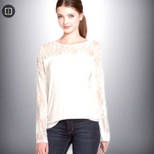Kut from the Kloth White Lace Details Top Womens